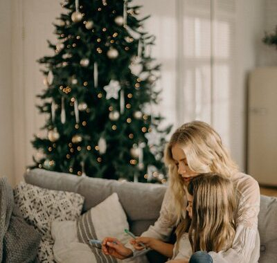Mother and child during the holidays